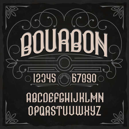 Vintage label typeface called Bourbon. Perfectly designed font for any design.