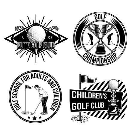 Set of golf emblems, labels, badges, logos. Isolated on white.