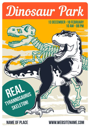 Poster design with illustration of a dinosaur and its skeleton on background.