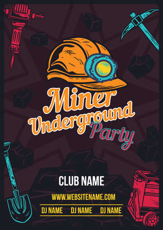 Advertising poster design with illustration of miner's helmet and equipment on background.