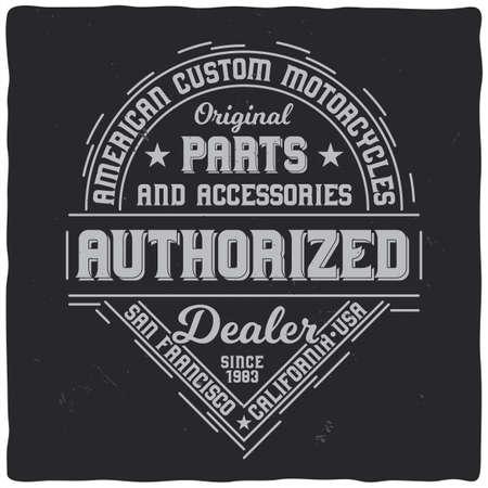 Vintage label design with lettering composition on dark background. T-shirt design. Illustration