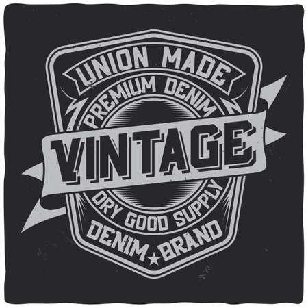 Vintage label design with lettering composition on dark background. T-shirt design. Çizim