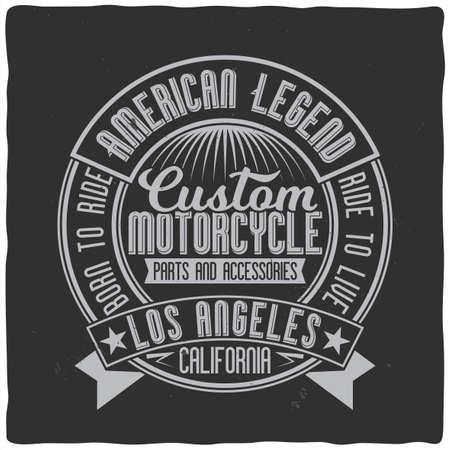 Diseño de etiqueta vintage con composición de letras sobre fondo oscuro. Diseño de camiseta.