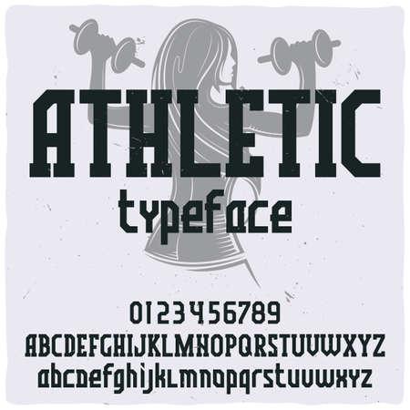 """Carattere tipografico dell'etichetta vintage denominato """"Athletic"""". Buon carattere artigianale per qualsiasi design di etichetta."""