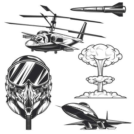 Set of aviation elements for creating your own badges, logos, labels, posters etc. Isolated on white. Logo