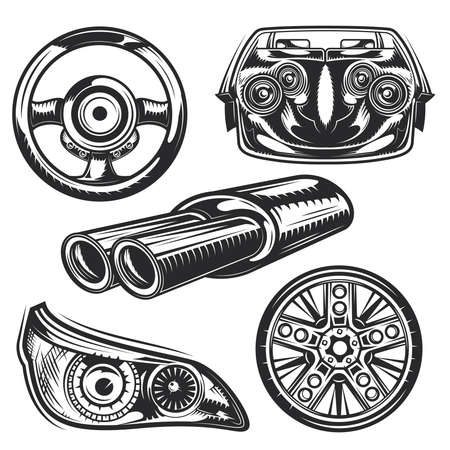Set di elementi di parti di automobili per creare badge, loghi, etichette, poster ecc. Isolato su bianco.