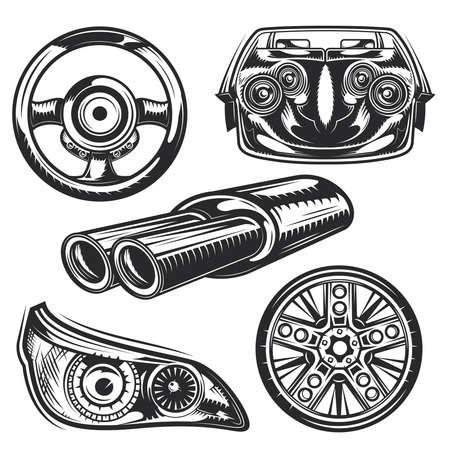 Zestaw elementów części samochodowych do tworzenia własnych odznak, logo, etykiet, plakatów itp. Na białym tle.