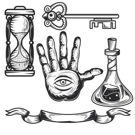 Set of alchemy elements for creating your own badges, logos, labels, posters etc. Isolated on white. Illustration