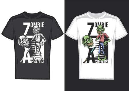 Muestras de diseño de camiseta con ilustración de zombies.