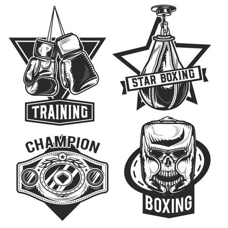 Set of box emblems, labels, badges, logos. Isolated on white