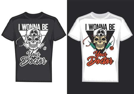 T-shirt design samples with illustration of doctors skull.