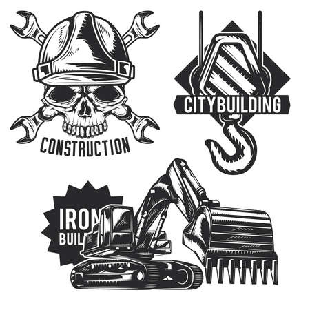 Set of building emblems, labels, badges, logos. Isolated on white