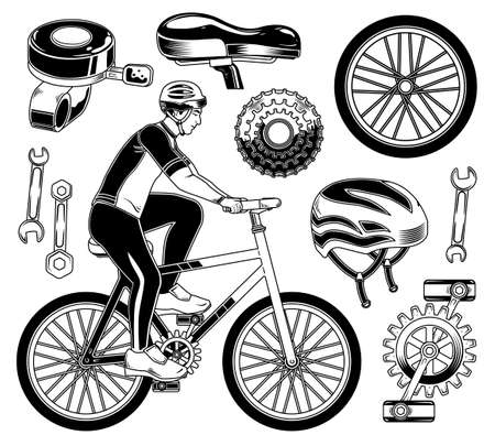 Set of cyclist elements for creating your own badges, logos, labels, posters etc. Isolated on white