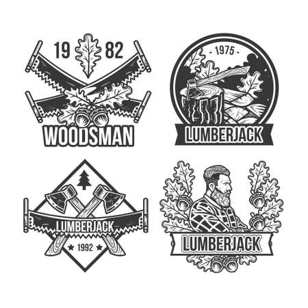 Set of vintage lumberjack emblems, labels, badges, logos. Isolated on white Ilustração
