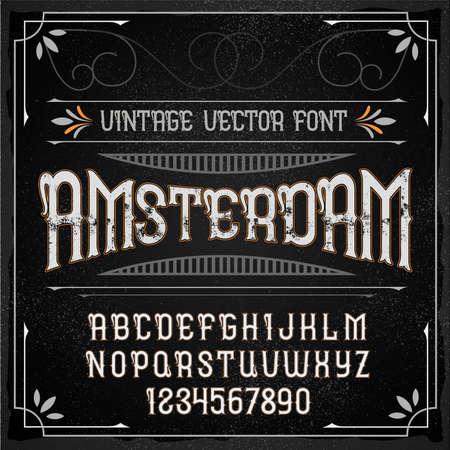 Vintage label typeface named Amsterdam. Good handcrafted font for any label design.