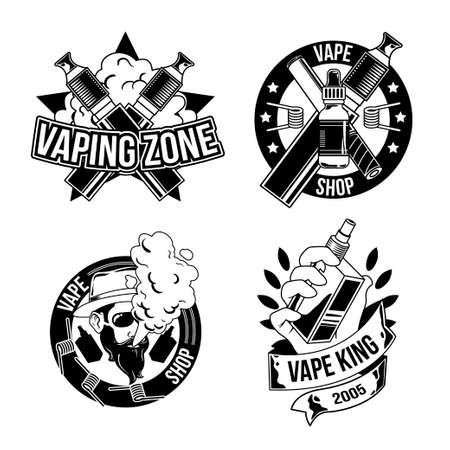 Set of vintage lumberjack emblems, labels, badges, logos. Isolated on white Illustration