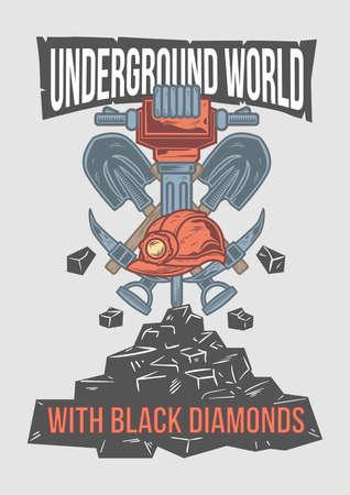 Poster design with illustration of mining shovel and stones. Illustration