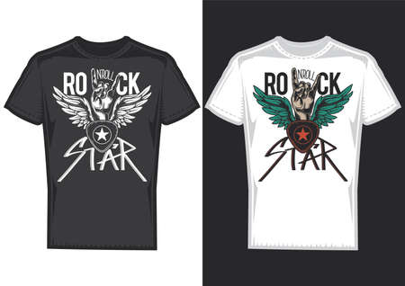 T-shirt design on 2 t-shirts with posters of hands with wings.