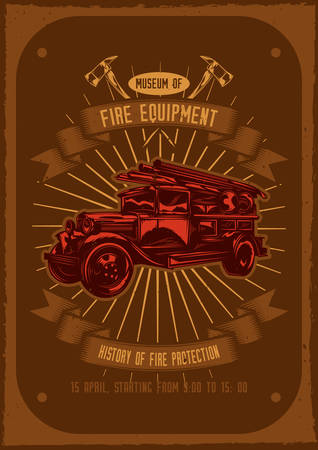 T-shirt or poster design with illustraion of fire truck with axes on background.