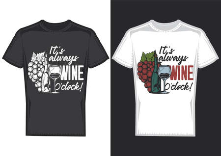 T-shirt design on 2 t-shirts with posters of a bottle of wine and a glass. Illustration