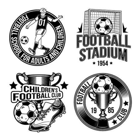 Set of football emblems, labels, badges, logos. Isolated on white. Illustration