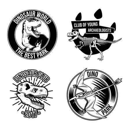 Set of vintage dinosaur emblems, labels, badges, logos. Isolated on white. Illustration