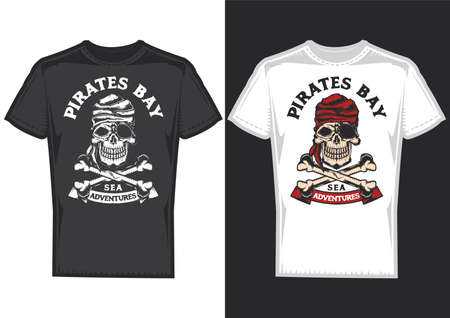 T-shirt design on 2 t-shirts with posters of pirats with bones.