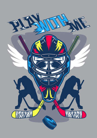 Poster design with illustration of helmet with wings and silhouettes of players on background.