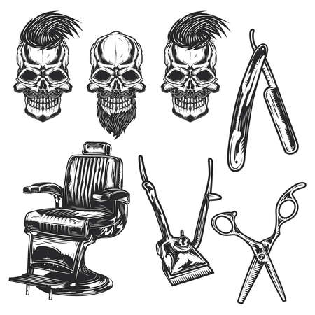 Set of barber equipment and skulls for creating your own badges, logos, labels, posters etc. Isolated on white
