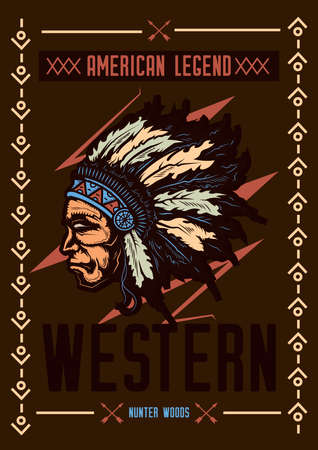 T-shirt or poster design with illustraion of native american with a hat. Illustration
