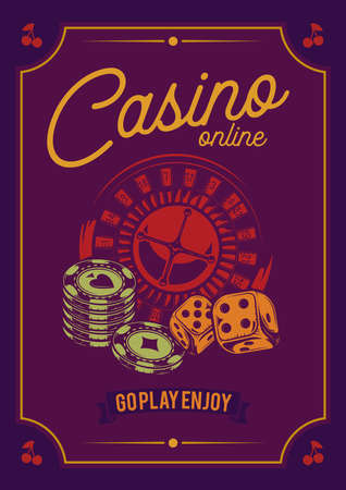 T-shirt or poster design with illustraion of casino elements: cards, chips and roulette.