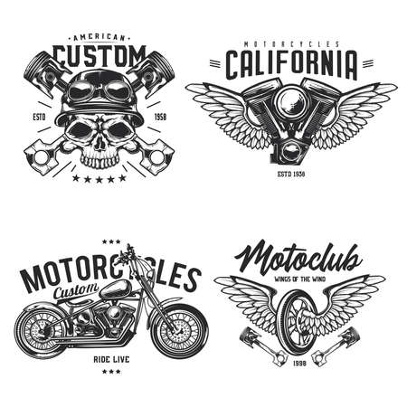 Set of biker and motorcycle emblems, labels, badges. Isolated on white