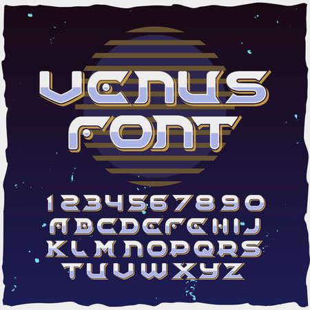 """Original label typeface named """"Venus"""". Good handcrafted font for any label design."""
