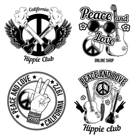 Set of hippie emblems, labels, badges. Isolated on white