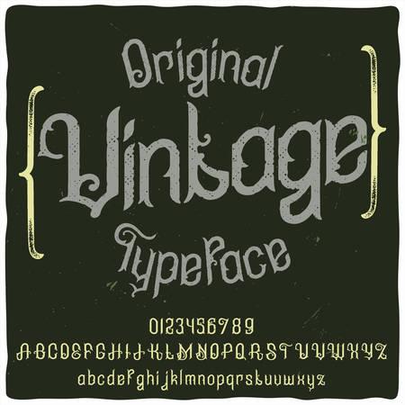 Original label typeface named Vintage. Good handcrafted font for any label design.