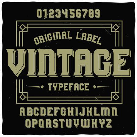 Vintage label typeface named Vintage. Good handcrafted font for any label design. 일러스트