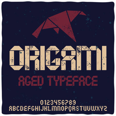 Vintage label typeface named Origami. Good handcrafted font for any label design.