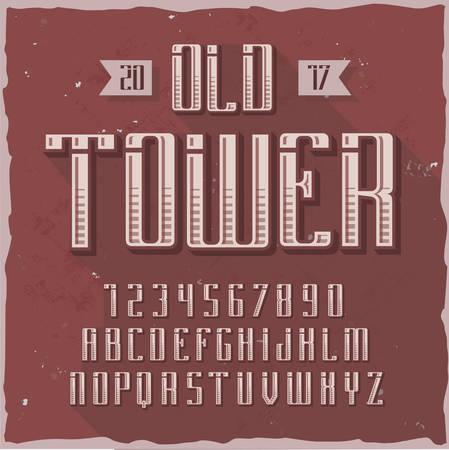 Original label typeface named Old Tower. Good handcrafted font for any label design.