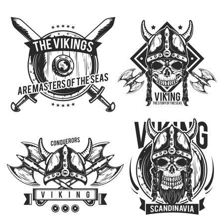 Set of viking emblems, labels, badges.