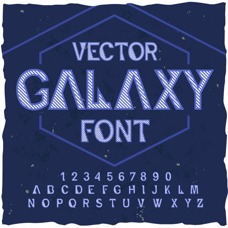Original label typeface named Galaxy. Good handcrafted font for any label design.