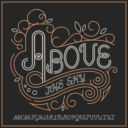 Vintage label typeface named Above the Clouds. Good handcrafted font for any label design. Ilustrace