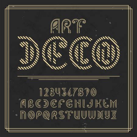 Original label typeface named Art Deco. Good handcrafted font for any label design. 일러스트
