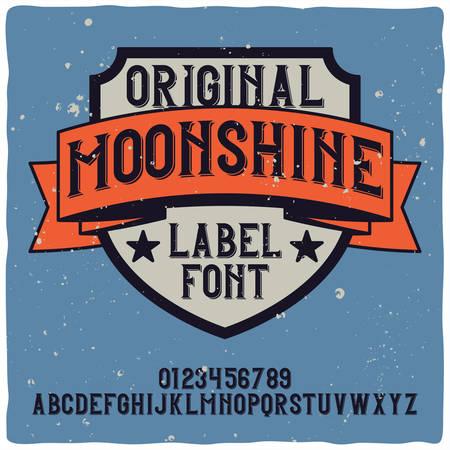 Vintage label typeface named Moonshine. Good handcrafted font for any label design. 일러스트