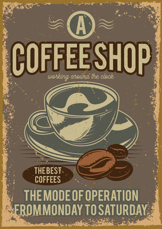 Advertising poster design with illustration of a cup of coffee and grains on the background.