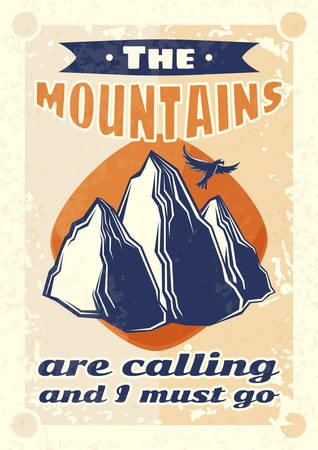 Conception d'affiche vintage avec illustration de montagnes et d'un aigle en arrière-plan.