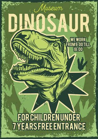 Poster design with illustration of a dinosaur on vintage background.