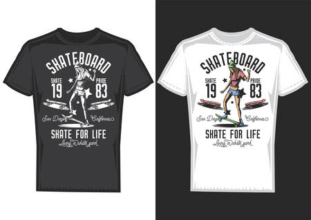 T-shirt design samples with illustration of a girl on a skateboard.