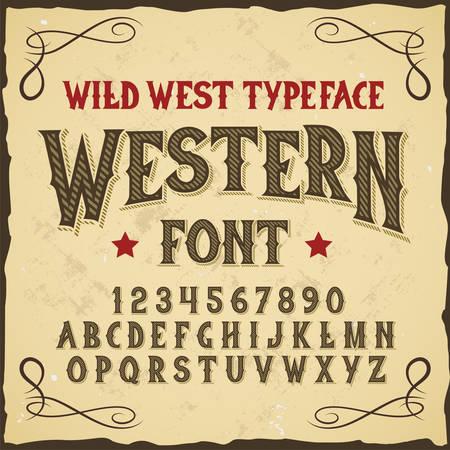 """Carattere tipografico originale dell'etichetta denominato """"Western"""". Buon carattere artigianale per qualsiasi design di etichetta. Vettoriali"""