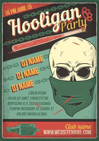 Advertising poster design with illustration of a bandits skull on vintage background.