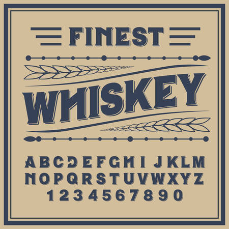 Vintage label typeface named Whiskey. Good handcrafted font for any label design. 일러스트